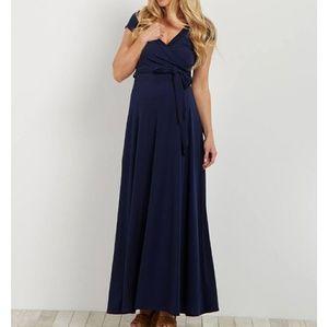 Pink Blush Navy V-Neck Maternity Maxi Dress L